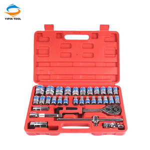 China Blue Rim 32pcs 1/2'' DR Metric Cr-V Tools Used For Mechanical Workshop
