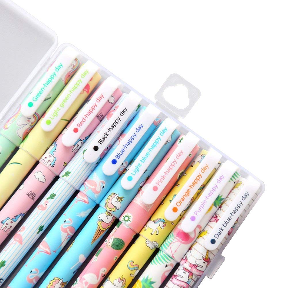 Unicorn Flamingo Gel Pens Set (10 Pack),Best Unicorn Gifts For Girls,Fine Point (0.5 mm), 10 Ink Color