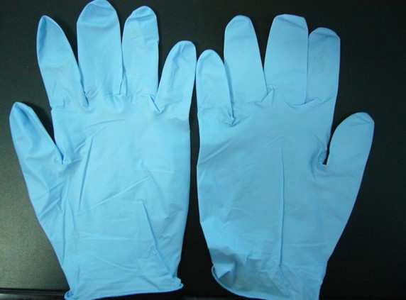 Disposable blue black gloves, industrial and medical exam grade nitrile gloves, food contact nitrile gloves
