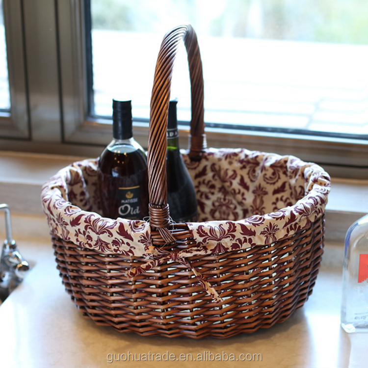 wicker basket with handle and fabric lining moroccan basket wicker