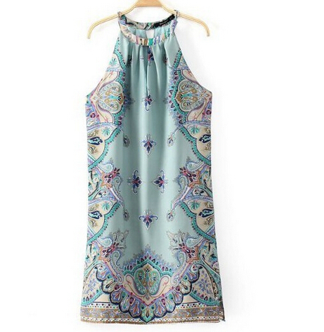 2015 Summer Dress Brief Palace Style Printing Halter Women Dress Pleated O-Neck Sleeveless Knee-Length Lake Blue Casual Dress