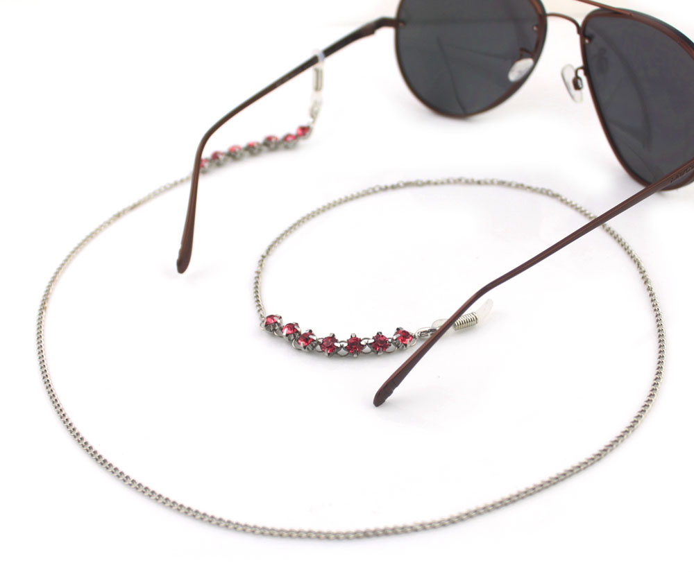 GL250 handmade silver chain pink and blue rhinestone eyeglass cords