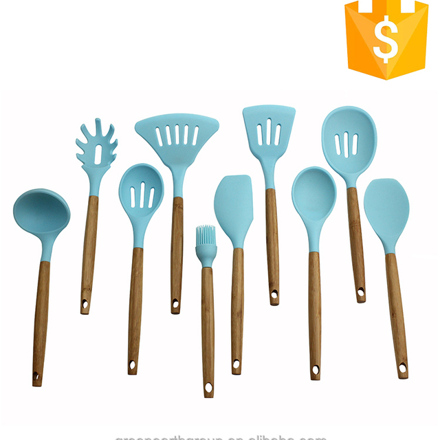 High quality food grade 10-piece colored Silicone kitchen utensils for utensil set