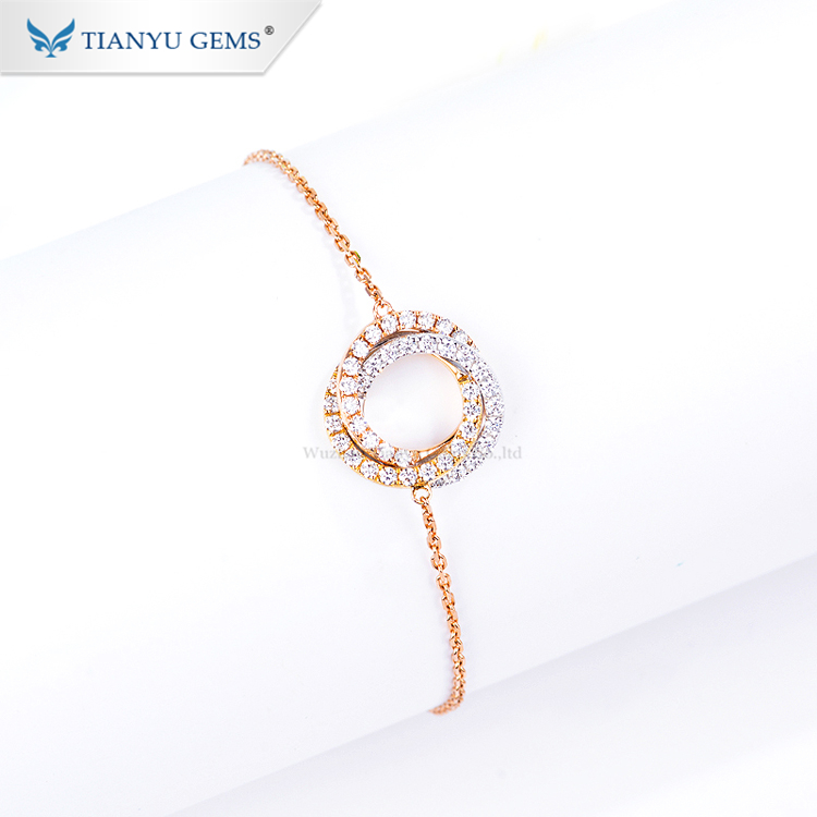 Tianyu gems jewelry  charm round brilliant cut moissanite unique 14K/18K rose gold bracelet womens