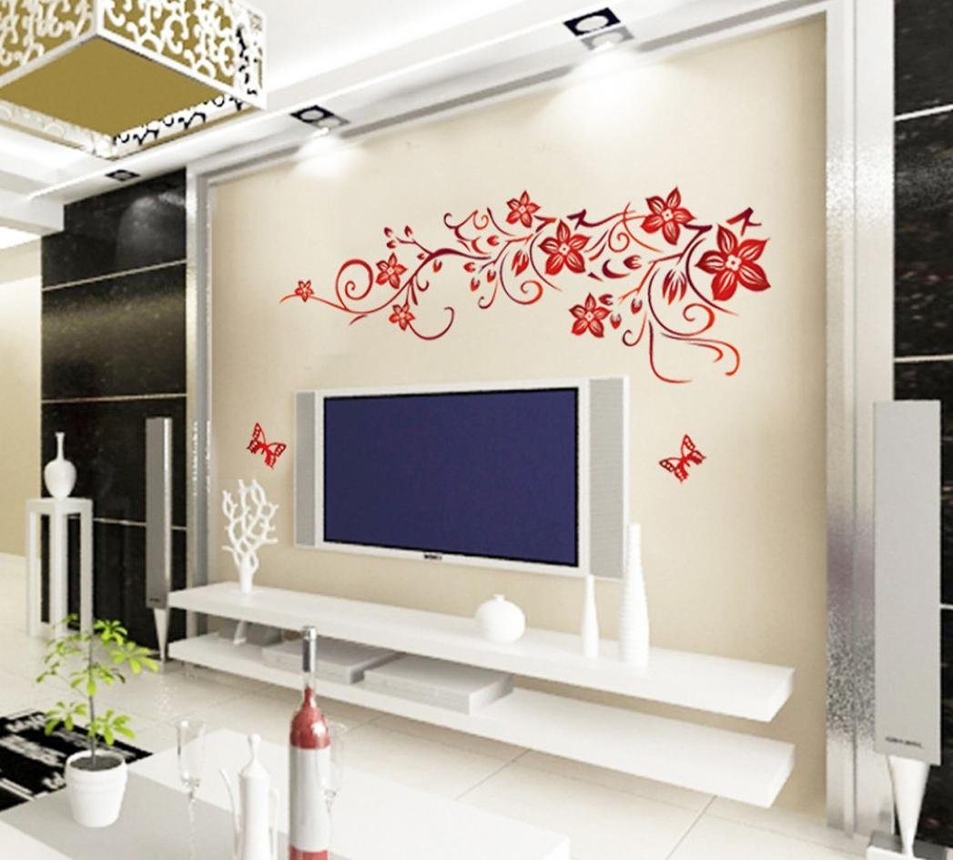 Oksale® DIY Butterfly Flower Wall Stickers Papers PVC Art Vinyl Removable Bedroom Living Room Home Applique Mural Decor Decal