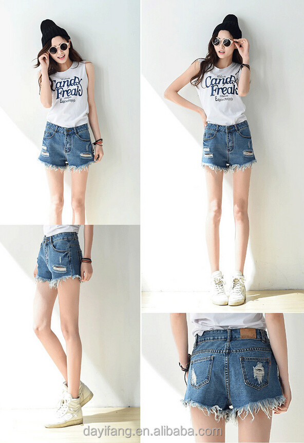 Female Tall Waist Hole Burrs Torn Loose Jean Shorts Women Denim ...