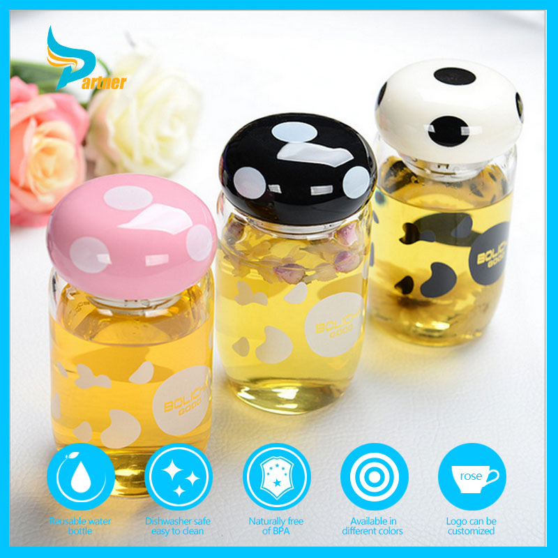 Factory Sell Most Promotional Cartoon Small Size Glass Water Bottle