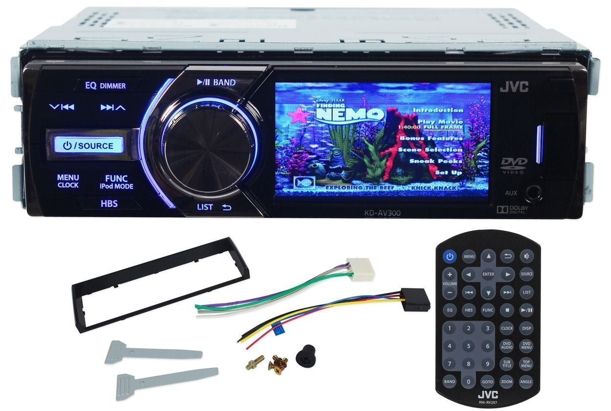 """JVC KD-AV300 In-Dash Single Din Car DVD/CD Receiver With 3"""" Display, iPhone 2-Way control, USB/AUX, and A Wireless Remote"""