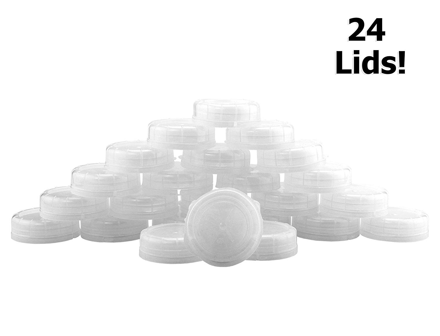 48mm Glass Milk Bottle Lids (24-Pack), Clear Snap-On Replacement Caps for Pint, Quart, Liter & Two Quart Milk Bottles