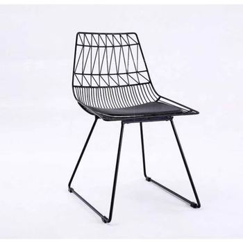 Outdoor Solid Metal Wire Frame Patio Chair Black Outdoor Patio Furniture Dining Chair