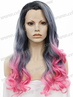 Wholesale Cheap Price Top Grade Quality Synthetic Lace Front Wigs Long Half Grey Half Pink 24inch Wave Drag Queen Wig