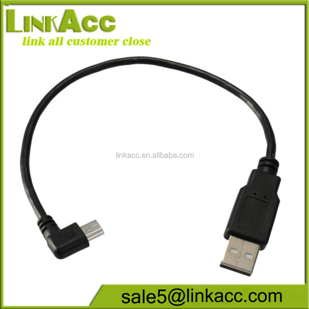LKCL89 Left/Right Angled 90 Degree Mini USB to USB Spring Data Cable