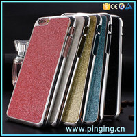 wholesale cell phone case electroplating pc flash powder pu sticker case for iphone 6s back cover