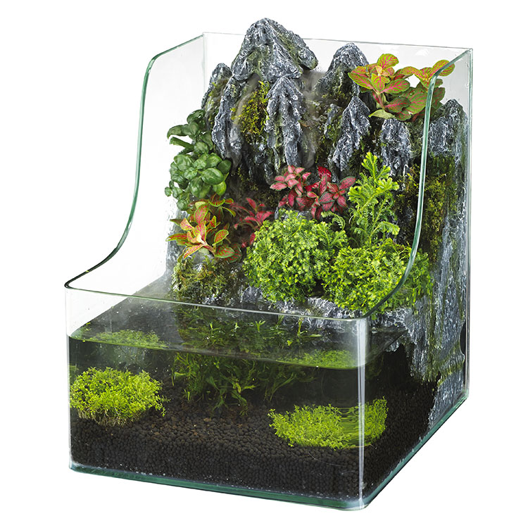 Eco friendly water garden flower pot water fountain fish for Fish aquarium garden