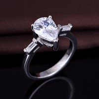 Sterling Silver Pear Cubic Zirconia CZ Solitaire Engagement Wedding Bridal Ring
