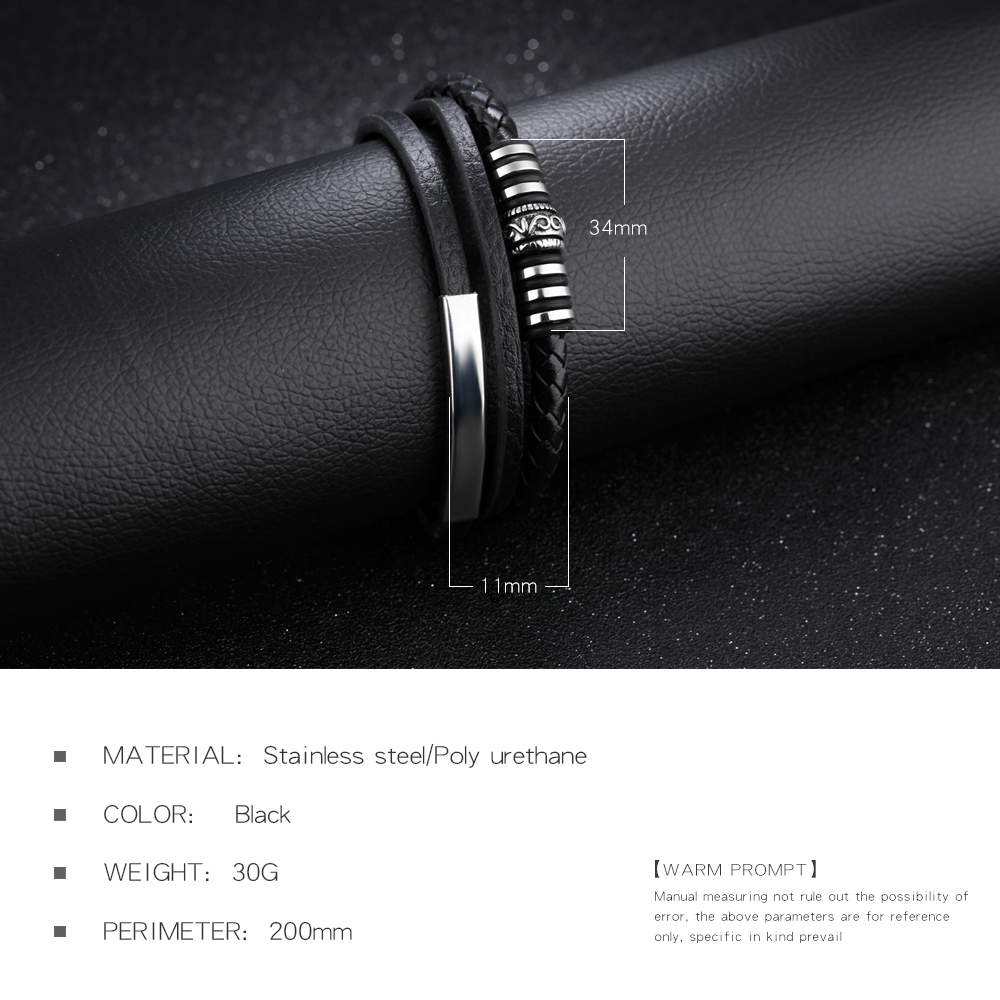 Wholesale Stainless Steel Magnetic Buckle Engraved Metal Genuine Leather Men Bangle