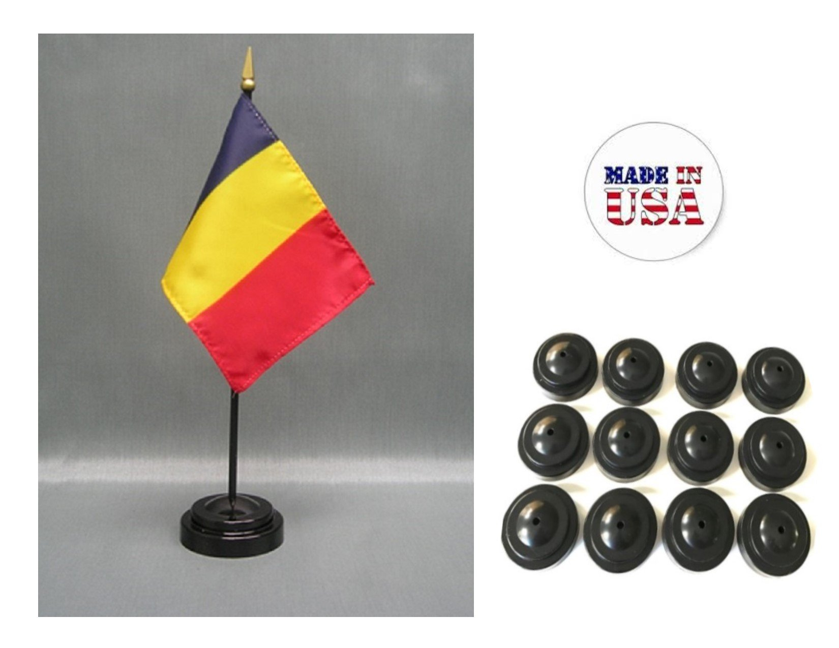 "Made in the USA!! Box of 12 Romania 4""x6"" Miniature Desk & Table Flags Includes 12 Flag Stands & 12 Romanian Small Mini Stick Flags"