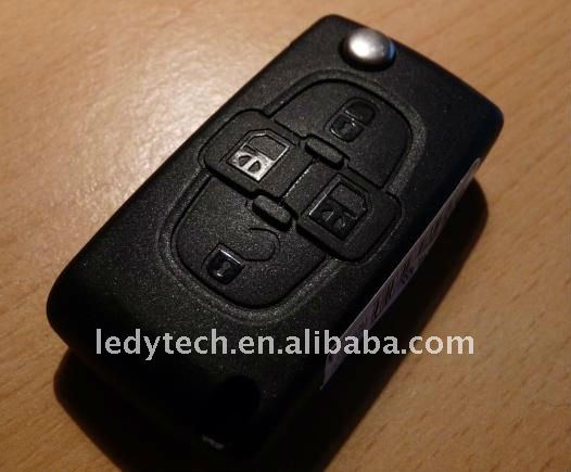 Hot sale Peugeot 307 4 button flip key shell no battery place CE0536