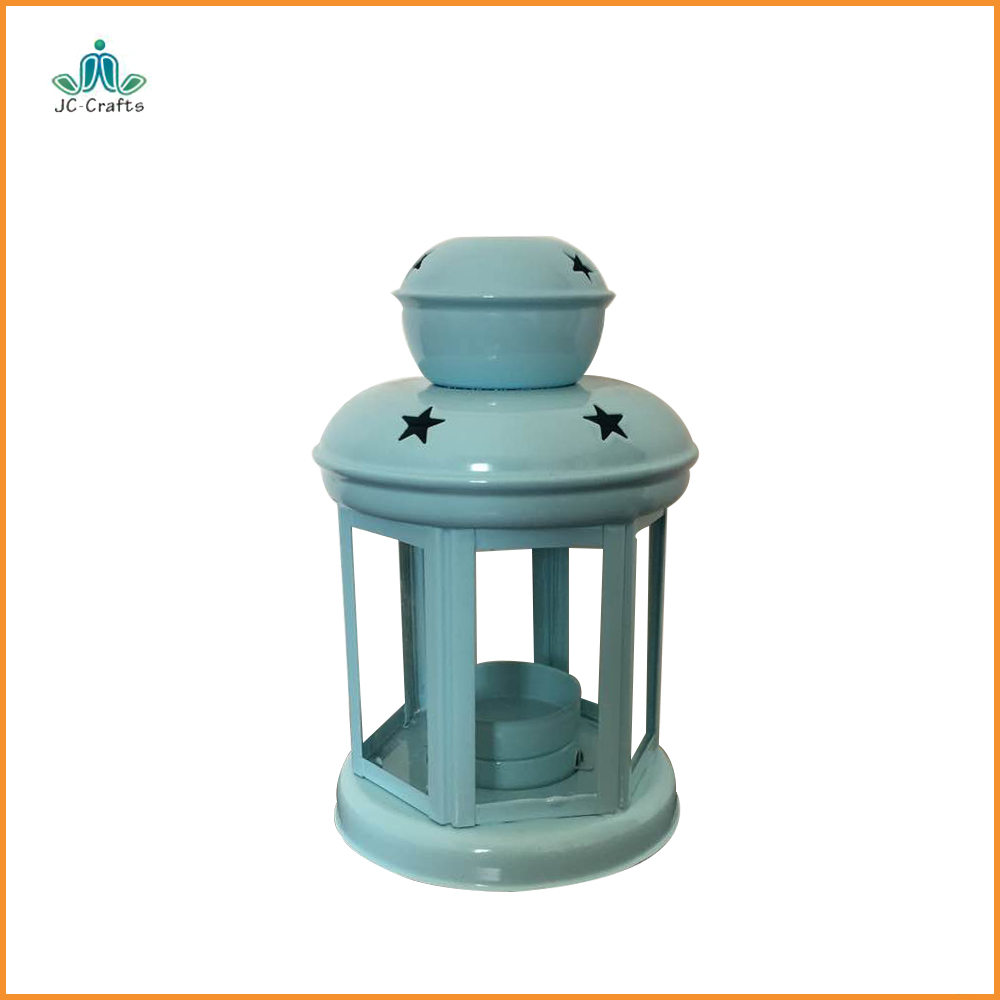 unique blue home decoration hollow out star candle holders metal lantern