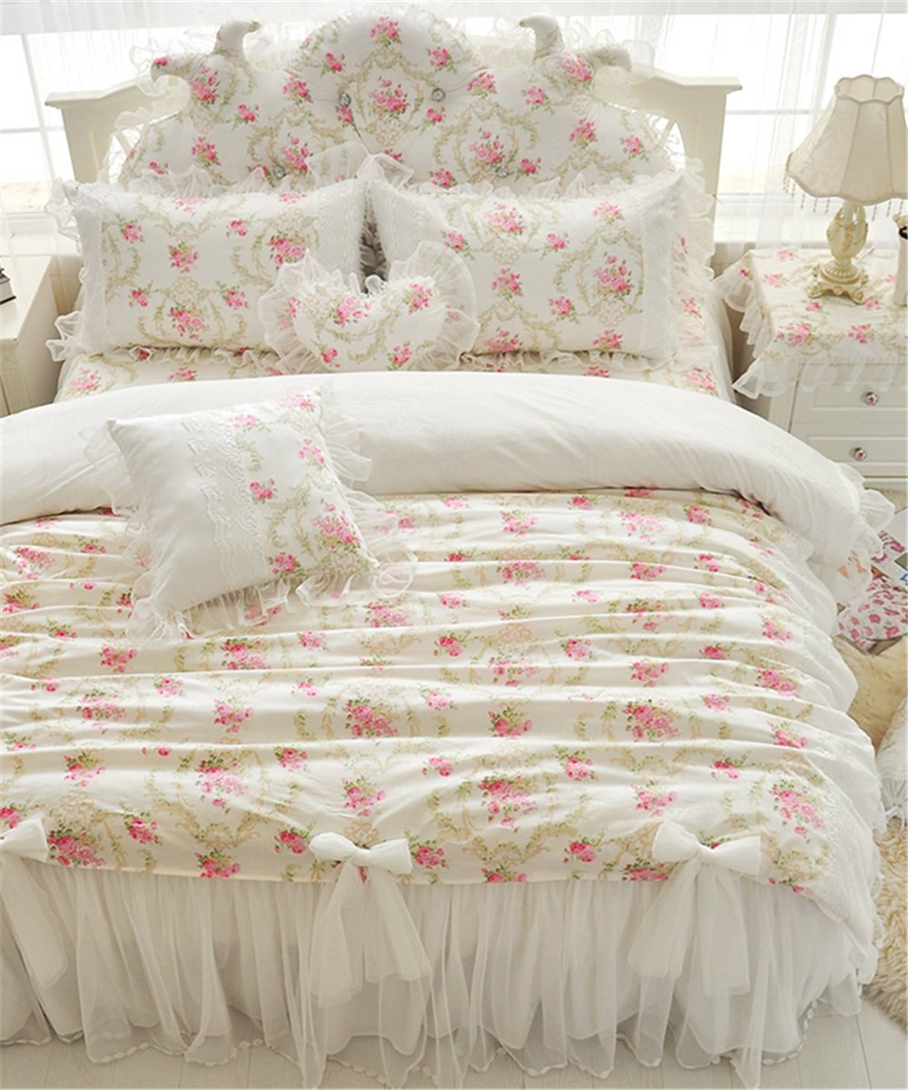 Buy Auvoau Home Textile Beautiful Korean Rose Bedding Sets Luxury Girls Pink Lace Ruffle Bedding Sets Romantic Princess Wedding Bedding Set Girls Fairy Bedding Sets 4pc Full Pink In Cheap Price On Alibaba Com