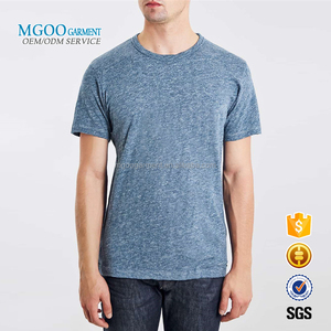 MGOO Custom Brand New Heather Blue Fashion Tshirt Cotton Spandex Mens Tops Plain Tee Shirts Wholesale