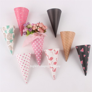 printed wrapping paper mini cute ice-cream cone shape box for small flower