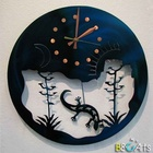 Custom made Modern Ferro Design Round Sun And Moon Century Plant Pendulum Clock metal arts and crafts for wall decoration