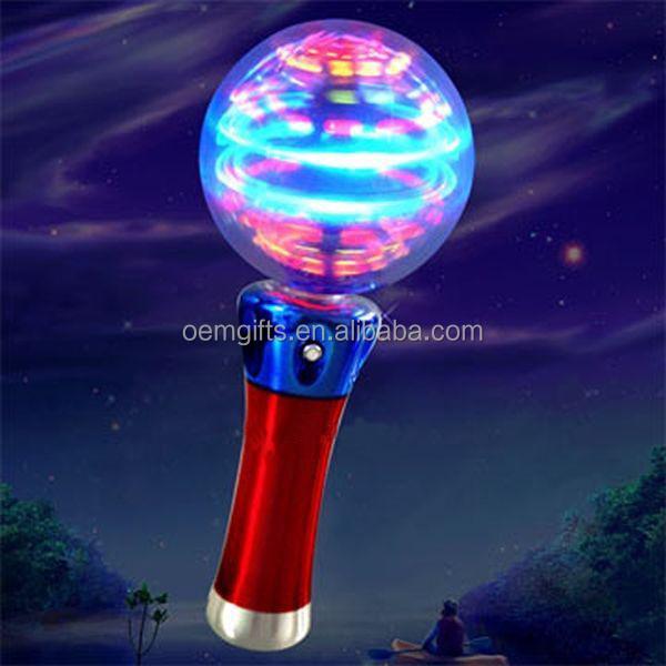 Rainbow Color Light Up Spinner Wand Christmas Glow Ball