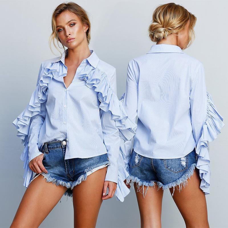 9134bba41f169 YSMARKET Long Wide Lantern Sleeve Blue Blouse Turtleneck Women Button Down  Blouses Shirts Female 2018 Autumn Winter Fashion Tops