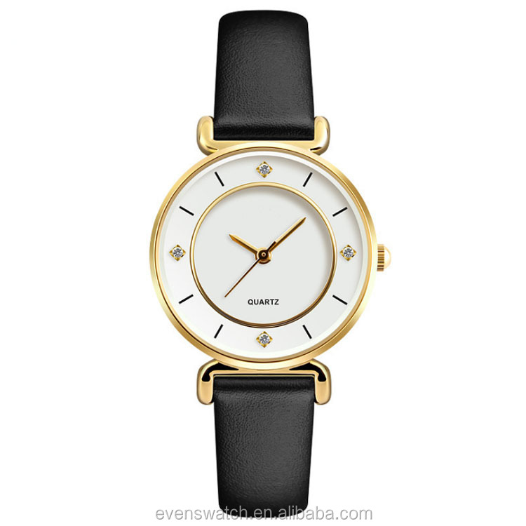 Fashion three hands quartz lady hand watch with miyota 2035 movement for women
