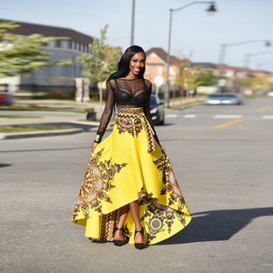 5480c08f70d Hot African Clothes Maxi long african skirts Women Girls Golden kitenge african  printed traditional dresses and