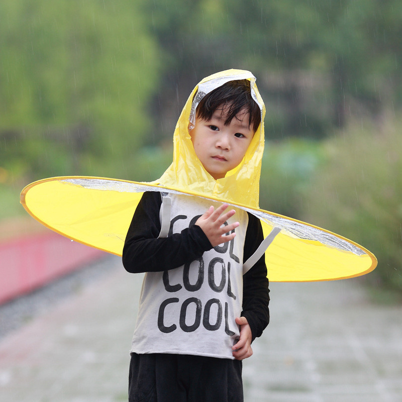 Waterpoorf Folding PVC Rain Hat Kids Yellow UFO Shaped Rain gear Rain Hats