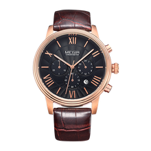 luxury rose gold case watches mens genuine leather quartz men business watch jam tangan megir