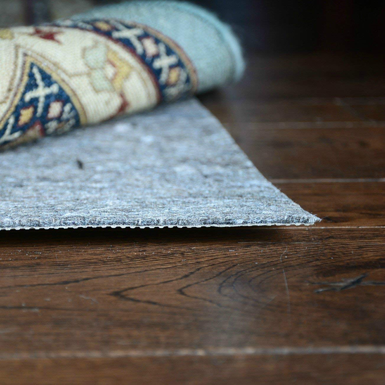 DURA-GRIP® Non Slip Rug Pad Felt & Natural Rubber SAFE for all Floors - 1/8 Thick (5x7 Feet - Rectangle)
