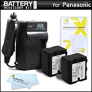 2 Pack Battery And Charger Kit For Panasonic HC-X920, HC-X920M, HDC-HS900K 3 MOS 220GB HDD 3D Compatible Camcorder Includes 2 Extended Replacement (1500Mah) VW-VBN130 Batteries (Fully Decoded!) + AC/DC Travel Charger + Screen Protectors + MicroFiber Cloth