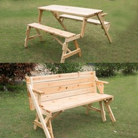 Outdoor Furniture Set Wood 2 in 1 Convertible Picnic Table & Garden Bench