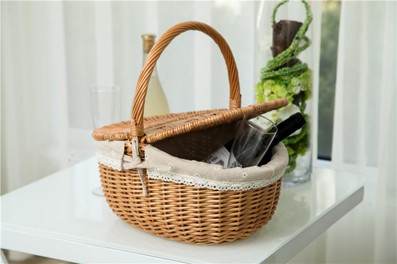 pas cher panier en osier avec couvercle doublure et poign e vide en osier panier pique nique. Black Bedroom Furniture Sets. Home Design Ideas