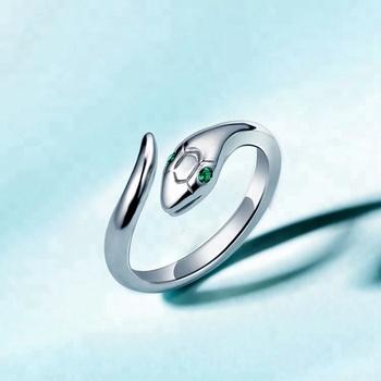 New Design White Gold Snake Value 925 Silver Green Zircon Eye Ring Designs Product On