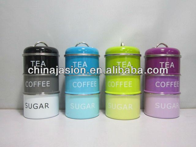 Set Of 3 Stacking Enamel Black Blue Green Purple Tin Coffee Tea Sugar Storage Tins New Metal Lantern Tier Steamer Wooden