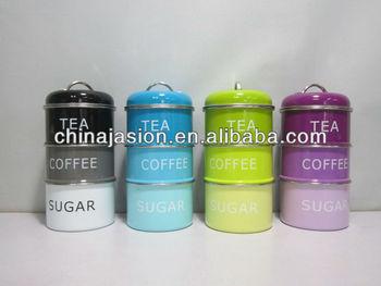 Set Of 3 Stacking Enamel Black Blue Green Purple Tin Coffee Tea Sugar Storage Tins New