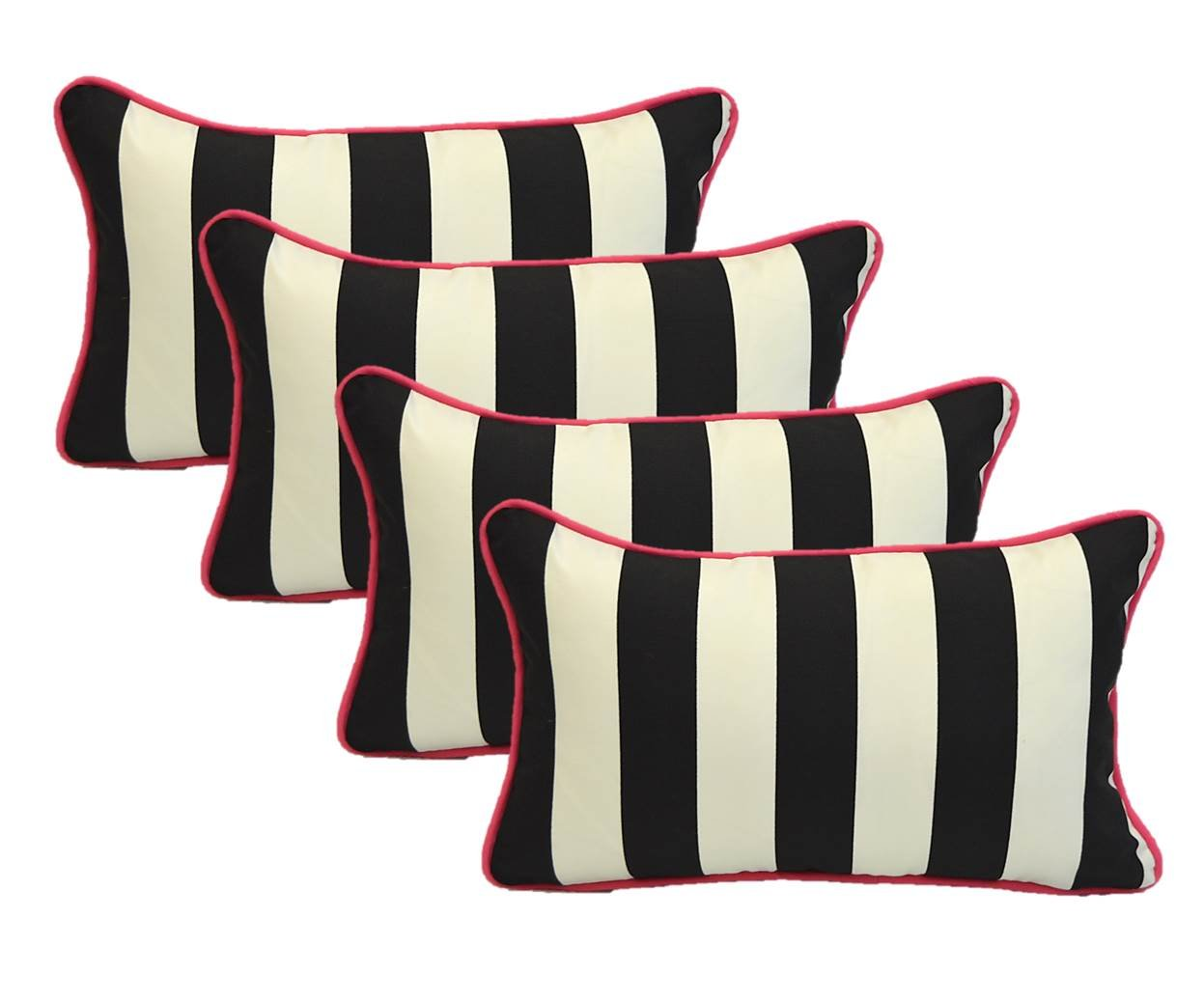 Set of 4 Indoor / Outdoor Decorative Lumbar / Rectangle Pillows - Black and White Stripe with Hot Pink Piping / Cording - Zipper Cover & Insert