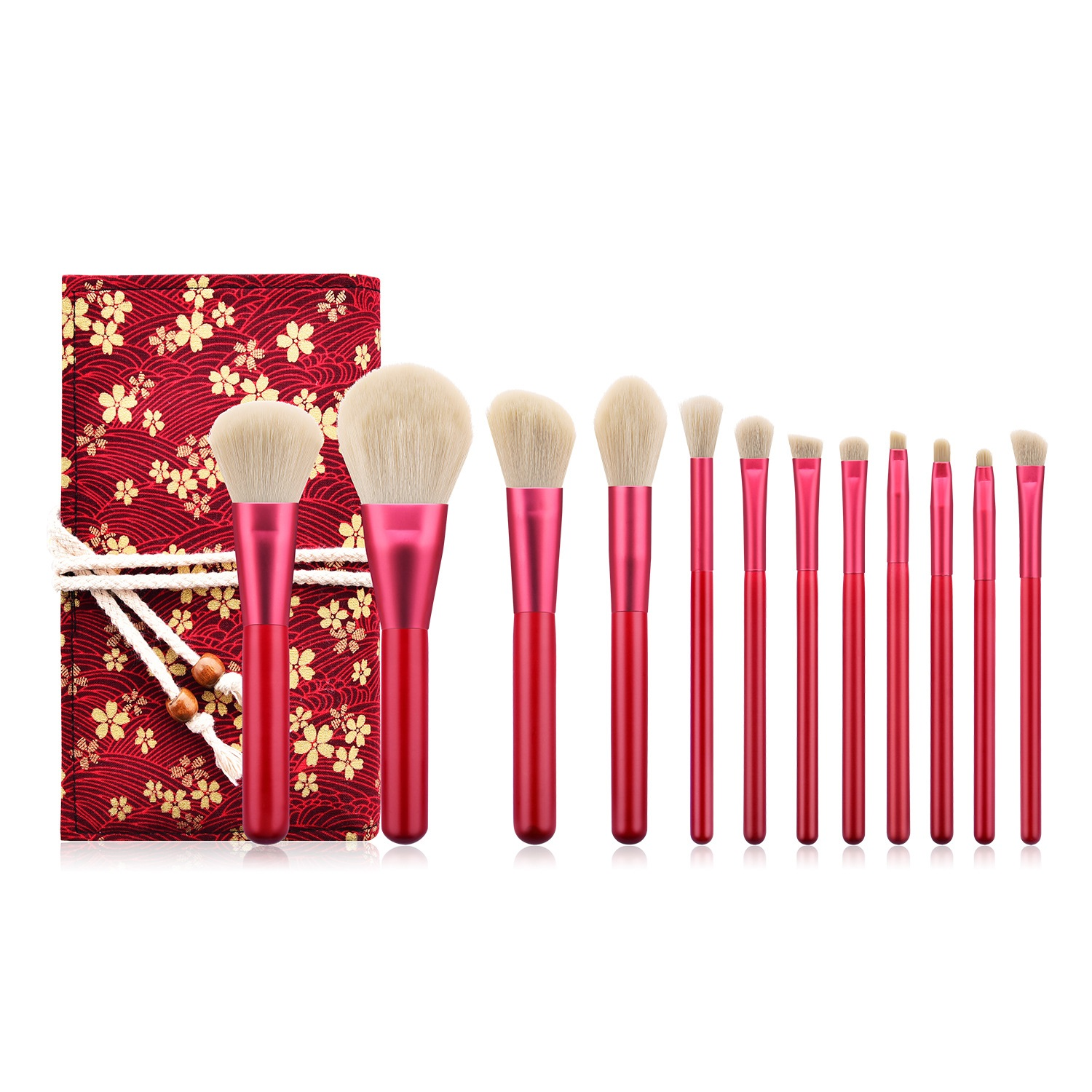 12pcs <strong>Makeup</strong> Wood Handle <strong>Brush</strong> Set With <strong>High</strong> <strong>Quality</strong> Professional Bag <strong>Makeup</strong> <strong>Brush</strong> With Bag