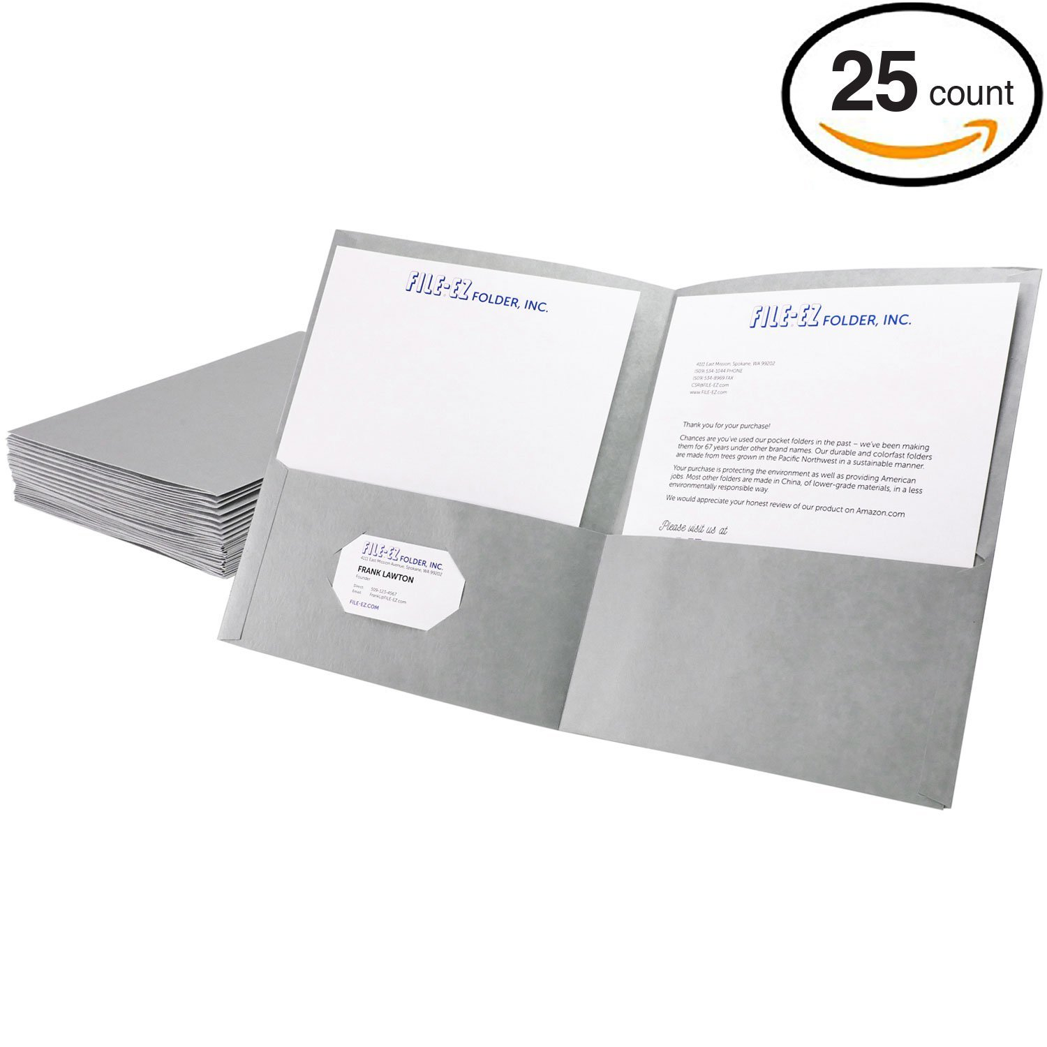 Get Quotations File Ez Two Pocket Folders Gray 25 Pack Textured Paper