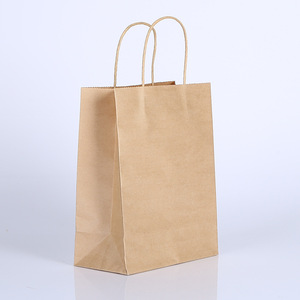 Grocery Tissue Food Grade Brown Kraft Paper Bag With Handle