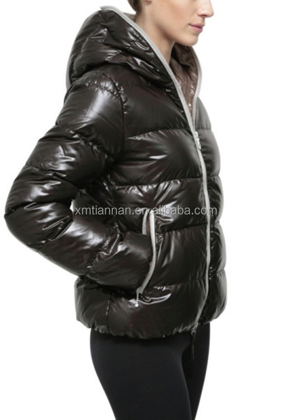 Ladies Down Jacket 90% Down 10% Feather Jacket With Hood Shiny ...