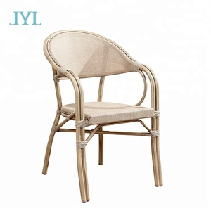 Leisure garden furniture outdoor aluminum frame bamboo cafe chairs
