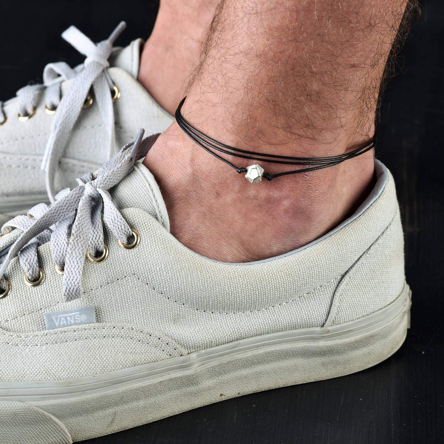 Handmade Black Anklet For Men Set With Silver Plated Bead By Galis Jewelry - Ankle Bracelet For Men - Beaded Anklet For Men