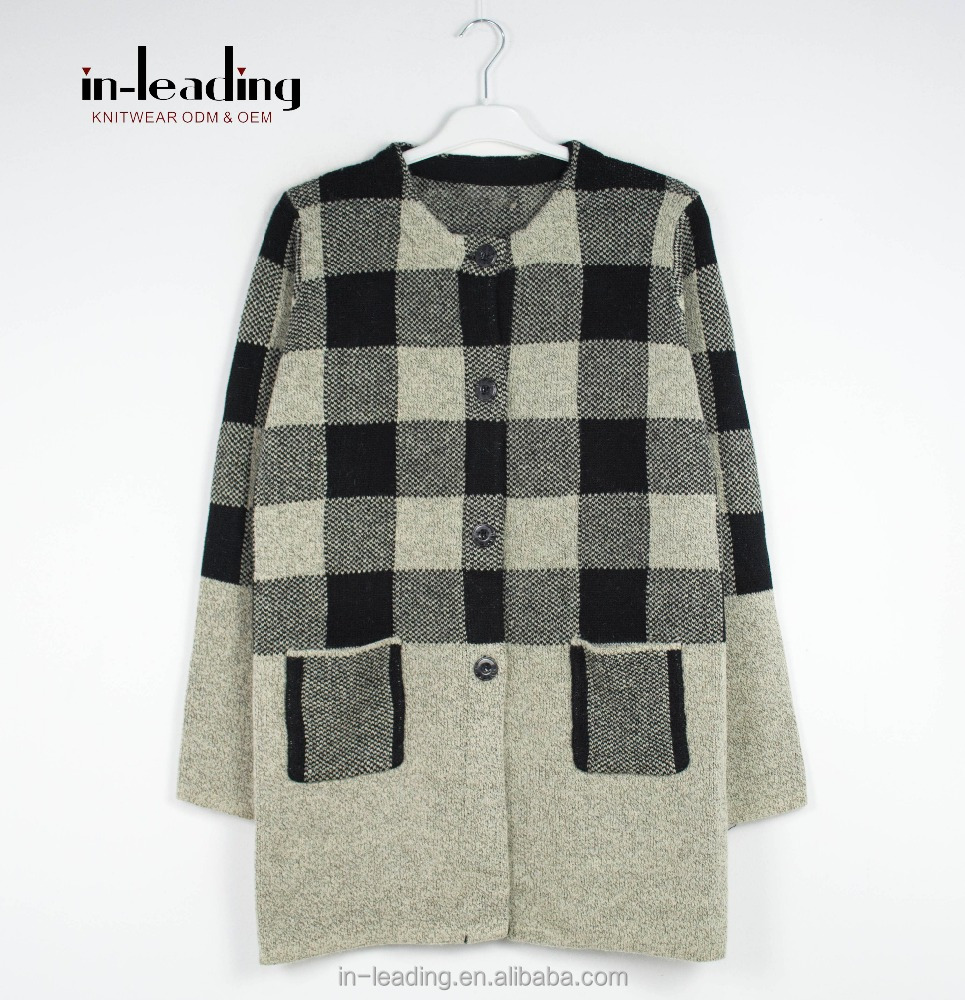 Tartan pattern knit cardigan sweater with button