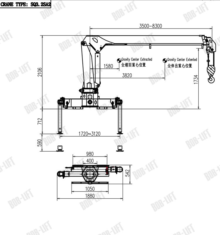 truck mounted 3 ton hydraulic engine hoist crane for sale sq3 2sa2