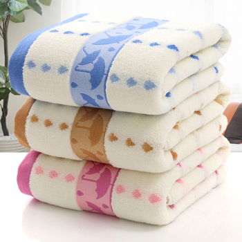 Super cheap price pink and blue Jacquard Umbrella pattern bath towel good skin feeling for children home use bath towel